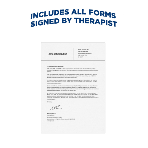 Emotional Support Dog Signed ESA Letter